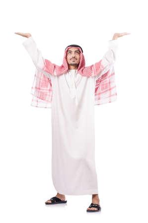 Arab businessman pushing isolated on the white Stock Photo - 18654829