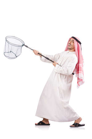 Arab businessman with catching net on white Stock Photo - 18653025