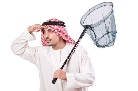 Arab businessman with catching net on white Stock Photo - 18663652