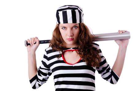 Convict criminal in striped uniform Stock Photo - 18663655