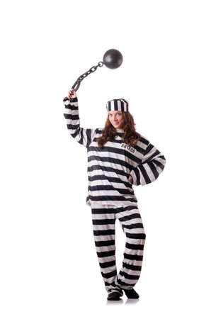 Prisoner in striped uniform on white Stock Photo - 18653001