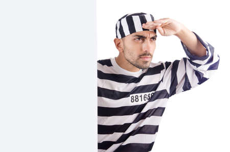 Convict criminal in striped uniform Stock Photo - 18663494