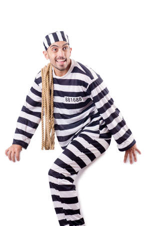Convict criminal in striped uniform Stock Photo - 18663545