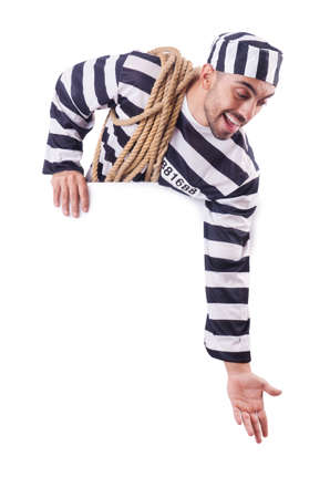 Convict criminal in striped uniform Stock Photo - 18663410