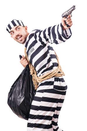 Convict criminal in striped uniform Stock Photo - 18663701