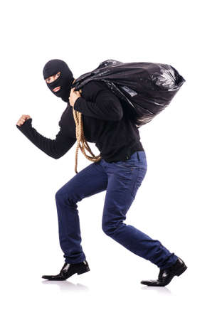 Burglar wearing balaclava isolated on white Stock Photo - 18663508