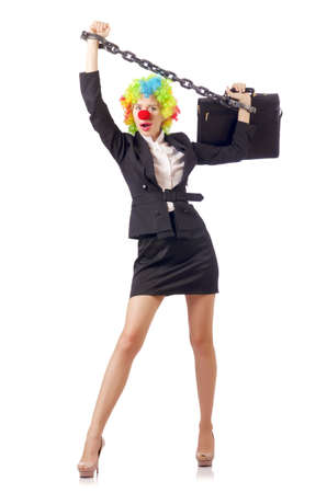 Woman clown in business suit Stock Photo - 18663313