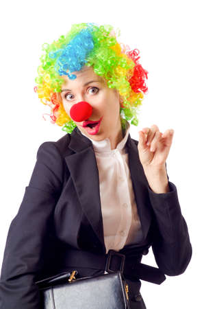 Woman clown in business suit Stock Photo - 18663755