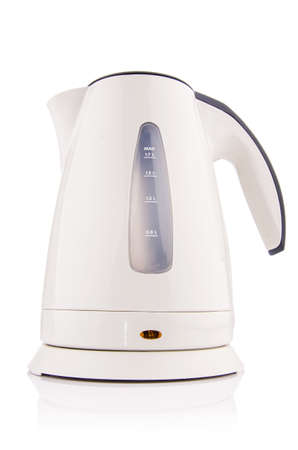 electric kettle: White electric kettle isolated