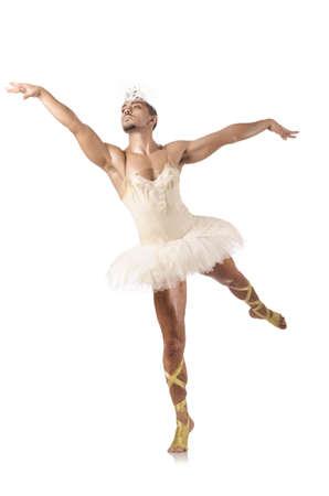 tutu ballet: Hombre en ballet tutu aislado en blanco