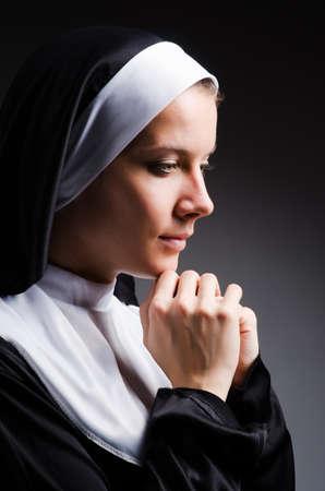 black nun: Young nun in religious concept