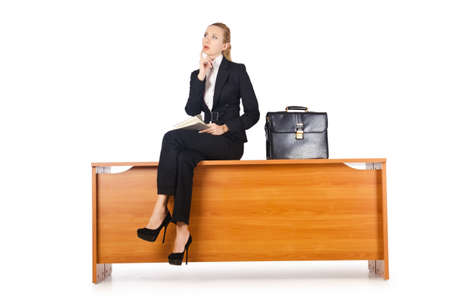 Businesswoman woman on the desk photo