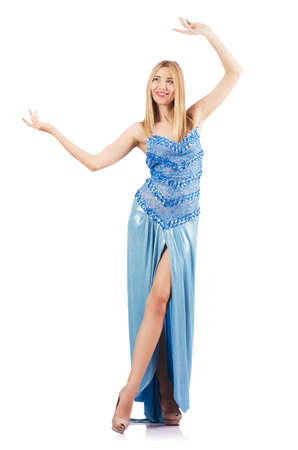Attractive woman in blue dress on white Stock Photo - 18663463