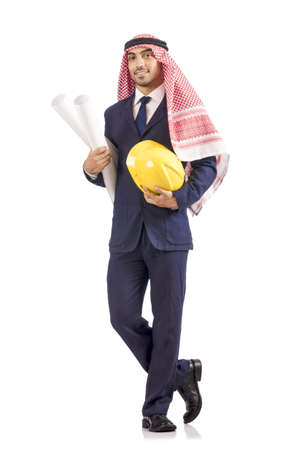Arab engineer with drawings on white Stock Photo - 18663481