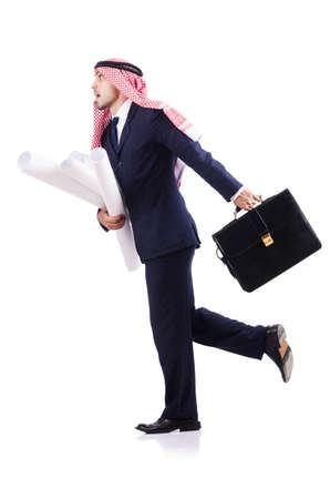 Arab engineer with drawings on white Stock Photo - 18663318