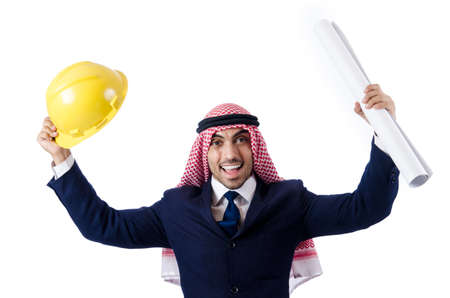 Arab engineer with drawings on white Stock Photo - 18663509