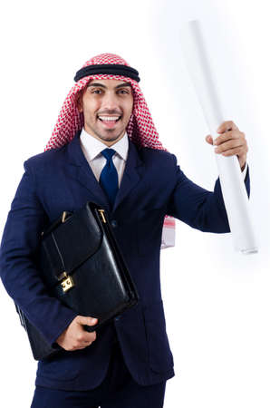Arab engineer with drawings on white Stock Photo - 18663736
