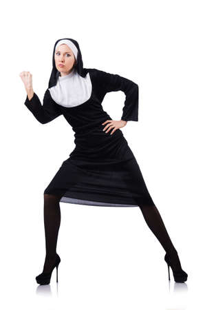 Nun isolated on the white background Stock Photo - 18473331