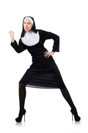 Nun isolated on the white background Stock Photo - 18473331