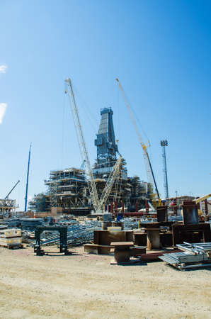 onshore: Offshore drilling during construction onshore