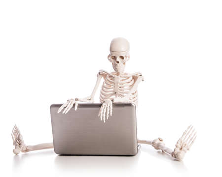 Skeleton working on laptop Stock Photo - 18510806