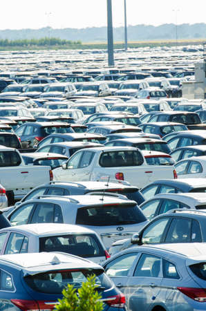 TUSCANY, ITALY - 27 June: New cars parked at distribution center in Tuscany, Italy. This one of biggest distribution centers in Italy. Stock Photo - 18509353