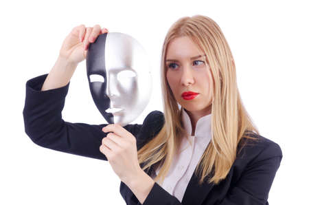 hipocres�a: Mujer con la m�scara de la hipocres�a concepto