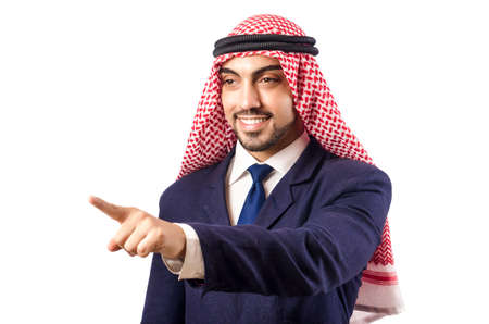 Arab man pressing virtual buttons Stock Photo - 18664021
