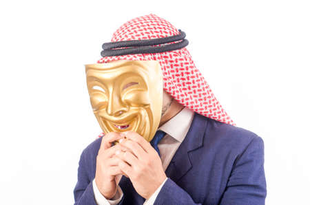 Arab man hypocrisy concept Stock Photo - 18652878