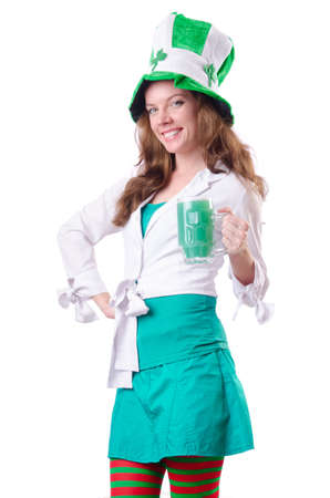 Young girl in saint patrick celebration concept Stock Photo - 18663997