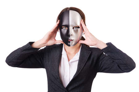 Woman with mask in hypocrisy concept Stock Photo - 18664026
