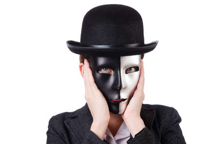Woman with mask in hypocrisy concept Stock Photo - 18664006