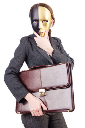 Woman with mask in hypocrisy concept Stock Photo - 18664064