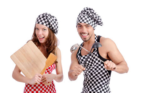 Pair of funny cooks on white Stock Photo - 18664015