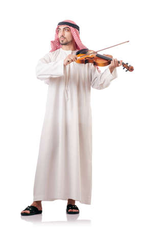 Arab man playing violin isolated on white Stock Photo - 18652862