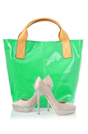 Elegant bag and shoes on white Stock Photo - 18482575
