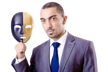 insincere: Businessman with mask in hypocrisy concept Stock Photo