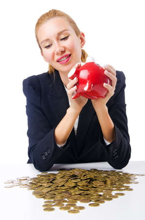 Woman breaking piggy bank for savings Stock Photo - 18664673
