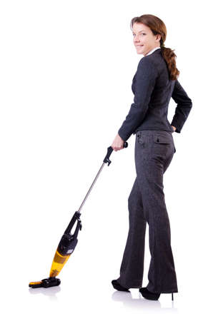 Young woman with vacuum cleaner on white Stock Photo - 18664424