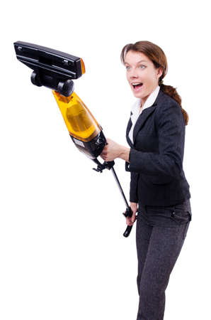Young woman with vacuum cleaner on white Stock Photo - 18664414