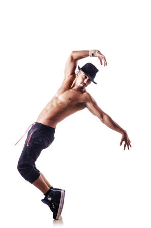 shirtless dancer isolated on the white photo