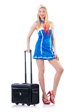 Woman sailor with suitcase on white Stock Photo - 18664392