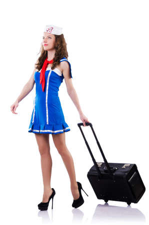 Woman sailor with suitcase on white Stock Photo - 18664395