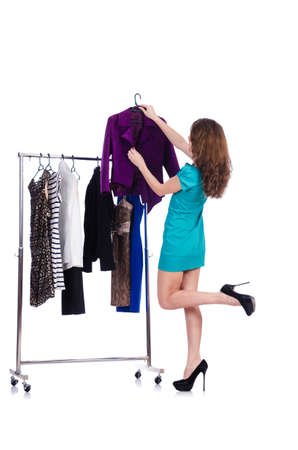 Woman trying new clothing on white Stock Photo - 18652756