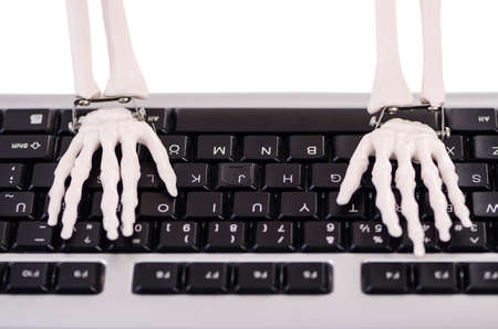 Skeleton working on the keyboard Stock Photo - 18535119