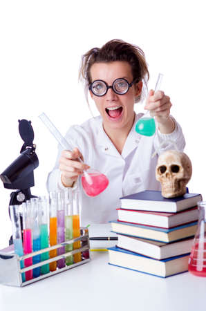 Crazy female chemist in lab Stock Photo - 18664629