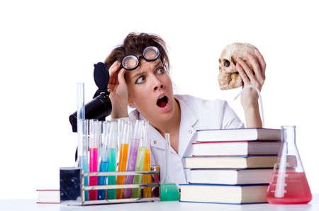 Crazy female chemist in lab Stock Photo - 18664578