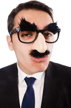 Funny businessman with eyebrows and moustache Stock Photo - 18664659