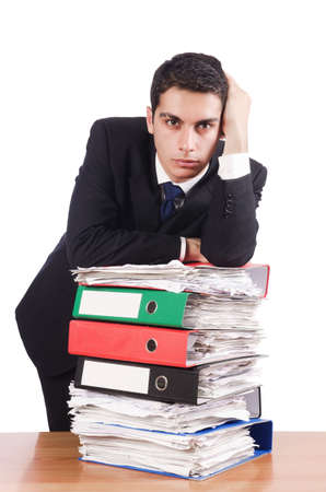 Young busy businessman at his desk Stock Photo - 18664628
