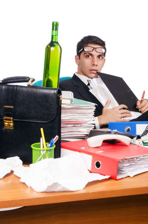 Young busy businessman at his desk Stock Photo - 18664637